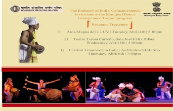 The Embassy of India, Caracas extends invitations to the Manipuri Dance Group concert as per program