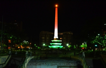 Obelisk at Altamira Square lit up to mark the 70th anniversary of Indias Independence.