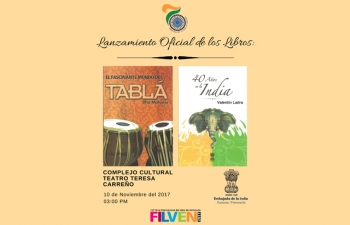 Launching of  the books: 40 years in India and the fascinating world of the table, cultural complex Teresa Carreño November 10, 3.00 PM.