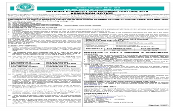 National Eligibility Cum Entrance Test (UG), 2018 Admission Notice