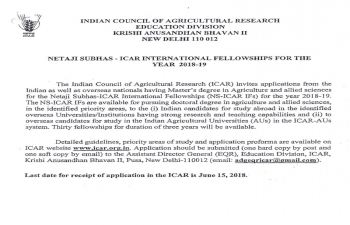 ICAR Intemational Fellowship for the year 2018-19