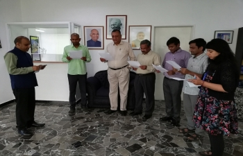 Pledge taking ceremony at Embassy of India, Caracas to observe Anti-Terrorism Day On May 21, 2018.