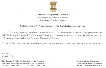 Celebration of 71st Anniversary of India's Independence Day