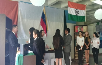 India stand at the Model of Diplomatic & Commercial Representations on January 31, 2019 at Santa Maria University, Caracas, Venezuela