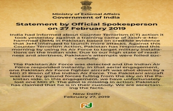 Statement by Official Spokesperson of the Ministry of External Affairs on February 27, 2019