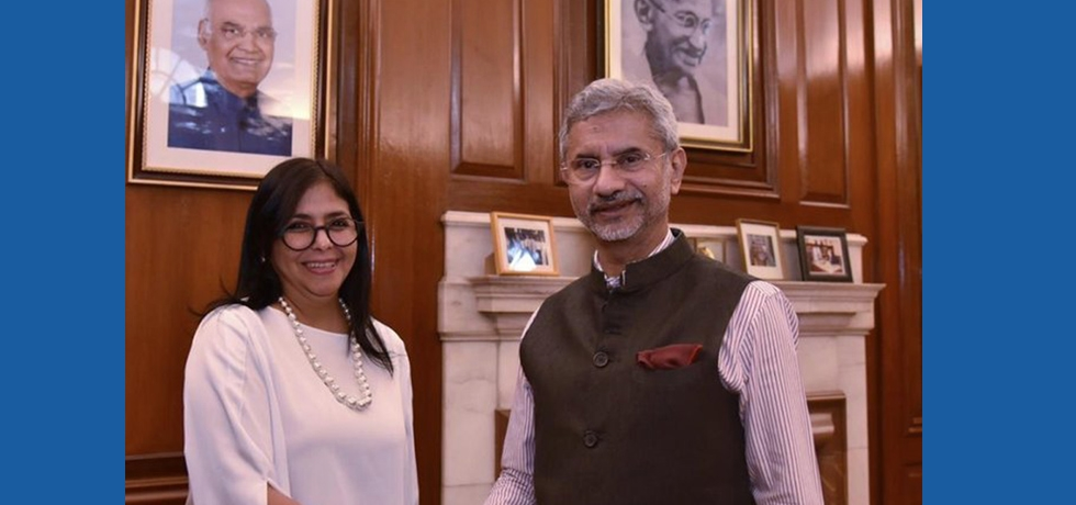 Honble External Affairs Minister of India Dr Subrahmanyam Jaishankar met H E  Ms  Delcy Eloina Rodriguez Gomez Vice President of Venezuela on the sidelines of 2nd  General Assembly of International Solar Alliance in New Delhi on 30th October 2019