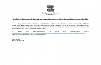 Online Quiz and Essay Competition on the Constitution of India