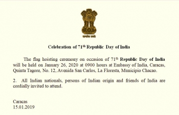 Invitation to Republic Day 2020