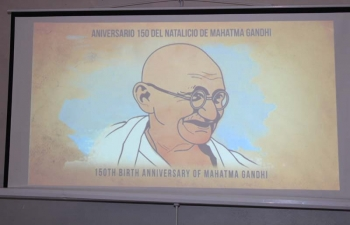 Commemoration of 150th Birth Anniversary of  Mahatma Gandhi and 70 years of Indian Constitution at Unidad Educativa Nacional Militar Cap. Pedro Maria Ochoa Morales