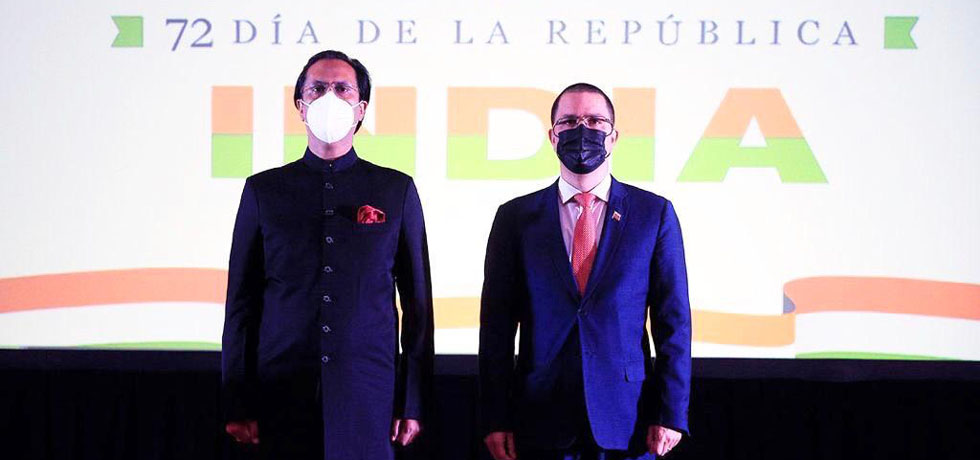 Ambassador H.E. Shri Abhishek Singh with the Foreign Minister of the Bolivarian Republic of Venezuela, H.E. Mr. Jorge Arreaza during the reception of Republic Day of India