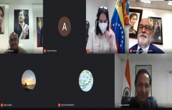 Venezuelan Minister of Science & Technology H.E. Ms. Gabriela Jimenez and Minister of Health H.E. Mr. Carlos Humberto Alvarado Gonzalez had a virtual meeting with Ambassador Abhishek Singh to discuss  cooperation in the field of pharmaceuticals
