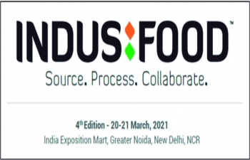4th edition of IndusFood from 20-21 March, 2021 at India Expo Mart, Greater Noida, India